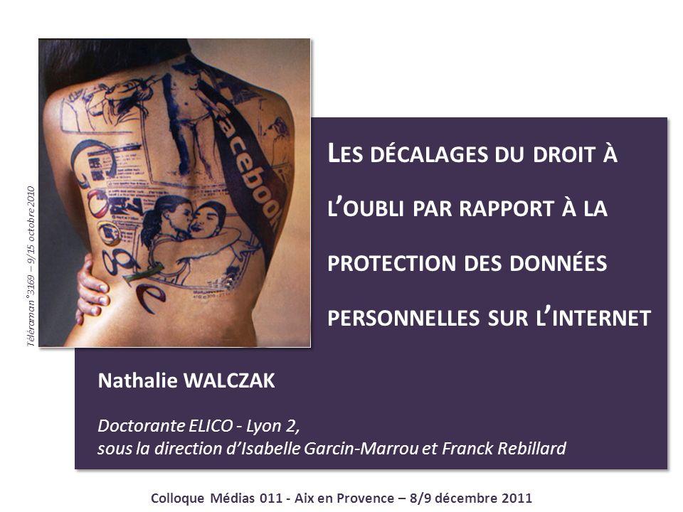 2 Nathalie WALCZAK - Colloque Médias 011 - Aix en Provence - 8/9 décembre 2011 DROIT A LOUBLI .