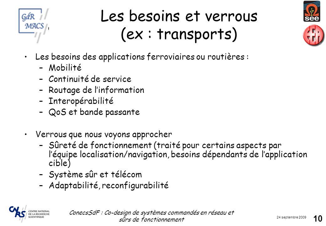 24 septembre 2009 ConecsSdF : Co-design de systèmes commandés en réseau et sûrs de fonctionnement 10 Les besoins et verrous (ex : transports) Les beso