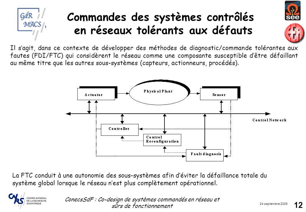 24 septembre 2009 ConecsSdF : Co-design de systèmes commandés en réseau et sûrs de fonctionnement 12 La FTC conduit à une autonomie des sous-systèmes