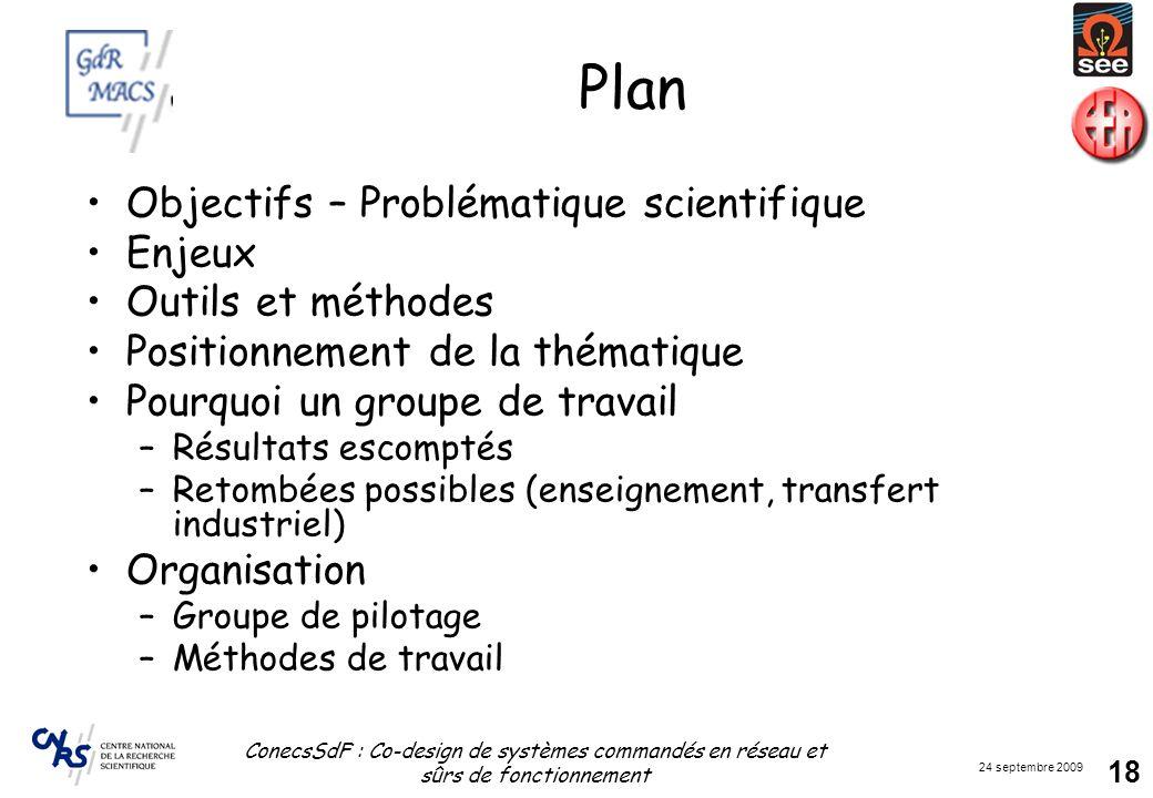 24 septembre 2009 ConecsSdF : Co-design de systèmes commandés en réseau et sûrs de fonctionnement 18 Plan Objectifs – Problématique scientifique Enjeu
