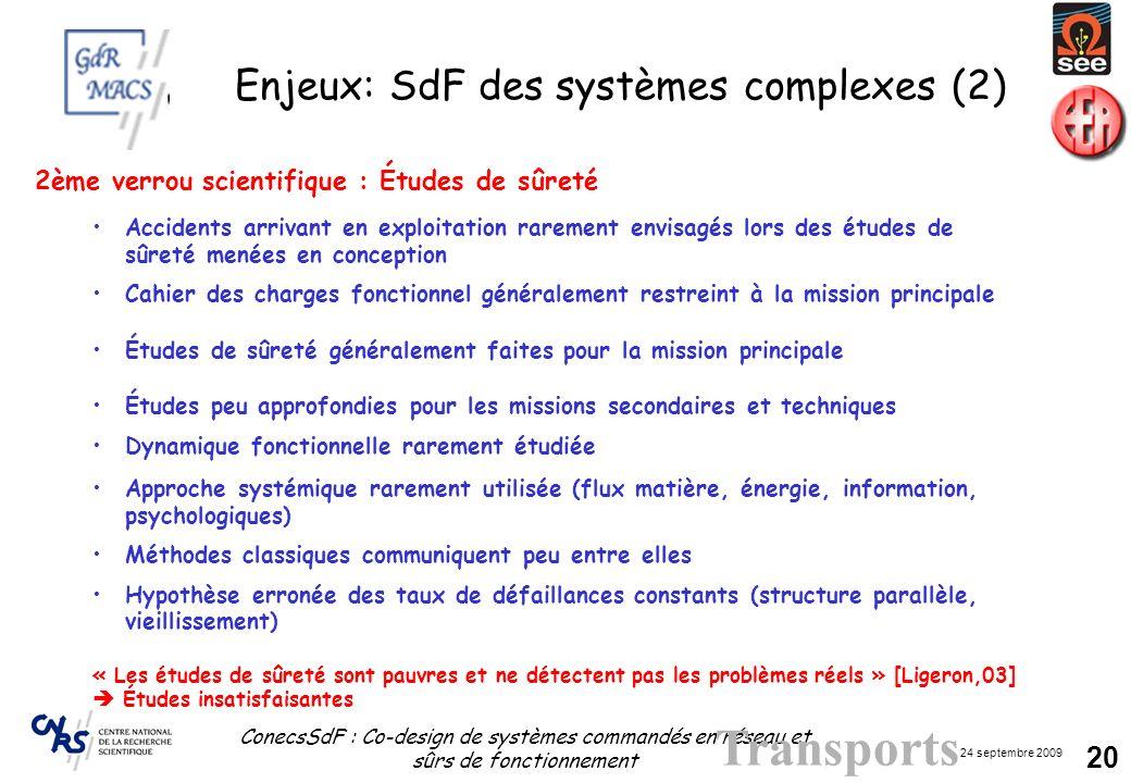 24 septembre 2009 ConecsSdF : Co-design de systèmes commandés en réseau et sûrs de fonctionnement 20 Enjeux: SdF des systèmes complexes (2) Transports