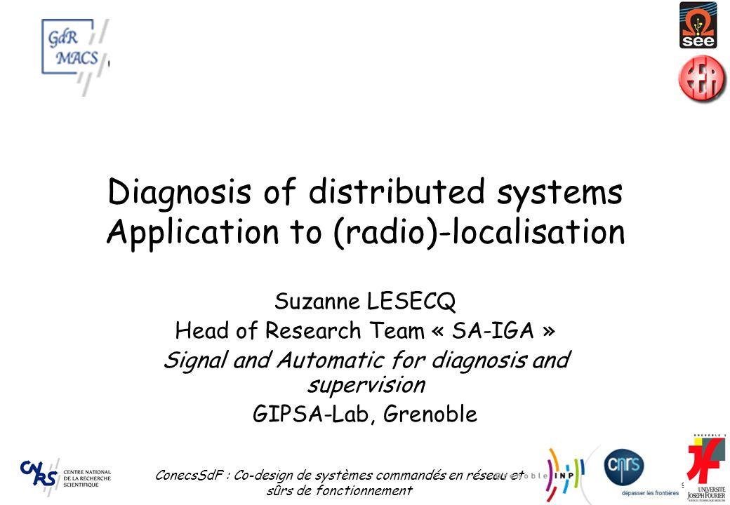 24 septembre 2009 ConecsSdF : Co-design de systèmes commandés en réseau et sûrs de fonctionnement 29 Diagnosis of distributed systems Application to (