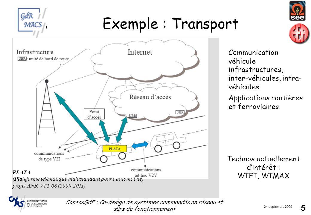 24 septembre 2009 ConecsSdF : Co-design de systèmes commandés en réseau et sûrs de fonctionnement 26 Enjeux: SdF des systèmes complexes (3) Transports Exemple de la Fonction « Communiquer » qui est un BERCEAU de la rétromettance Mesurer_1 (VP, VC) Décider_1 (VP, VC) Agir_1 (VP, VC) Mesurer_n (VP, VC) Décider_n (VP, VC) Agir_n (VP, VC) Communiquer ID_Dat_VPRP_Dat_VP Réseau ID_Dat_VC RD_Dat_VC Contributions: Étude dintégrité et de cohérence temporelle des informations échangées [CIAME, 04] Viabilité de linformation pour la prise de décision dégradée Proposition dune méthodologie de Codesign et du formalisme SAFE-SADT pour la conception de systèmes dautomatisation sûrs de fonctionnement [HDR Cauffriez,05] AMDE de la fonction « Communiquer » selon approche modèle OSI réduit [CIAME, 09] Effets de la défaillance de la fonction Communiquer sur le système automatisé