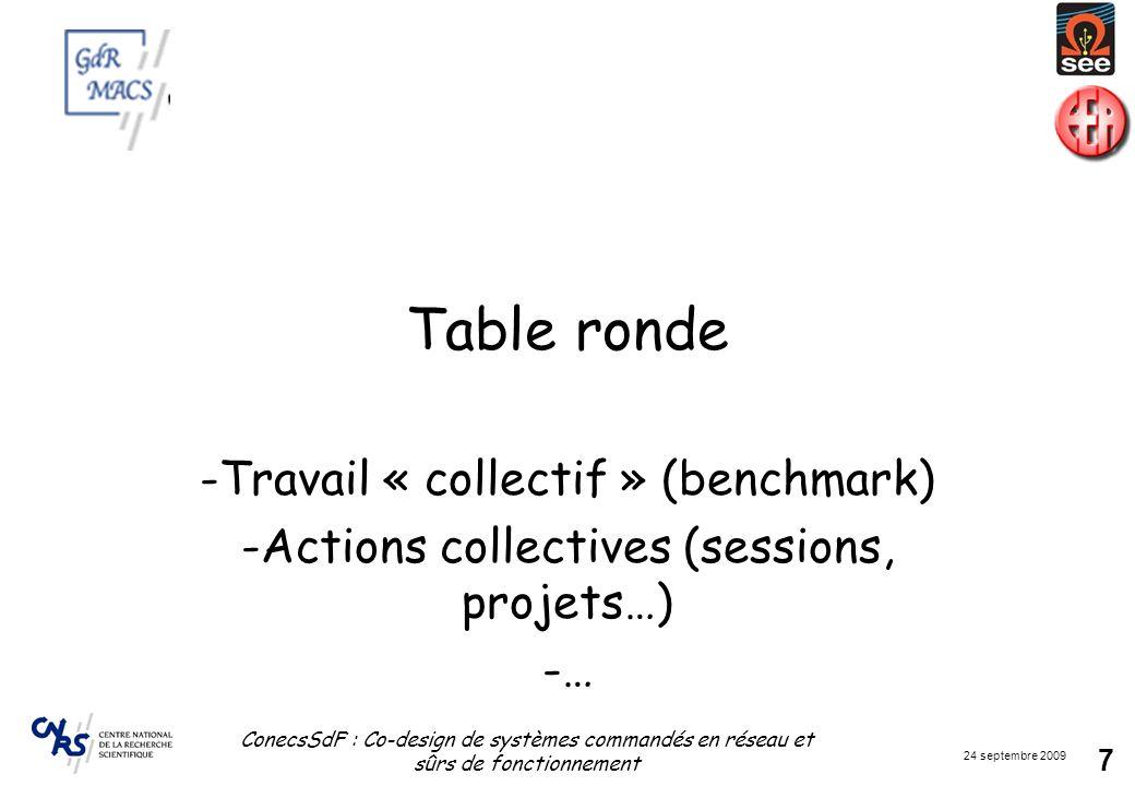 24 septembre 2009 ConecsSdF : Co-design de systèmes commandés en réseau et sûrs de fonctionnement 7 Table ronde -Travail « collectif » (benchmark) -Ac
