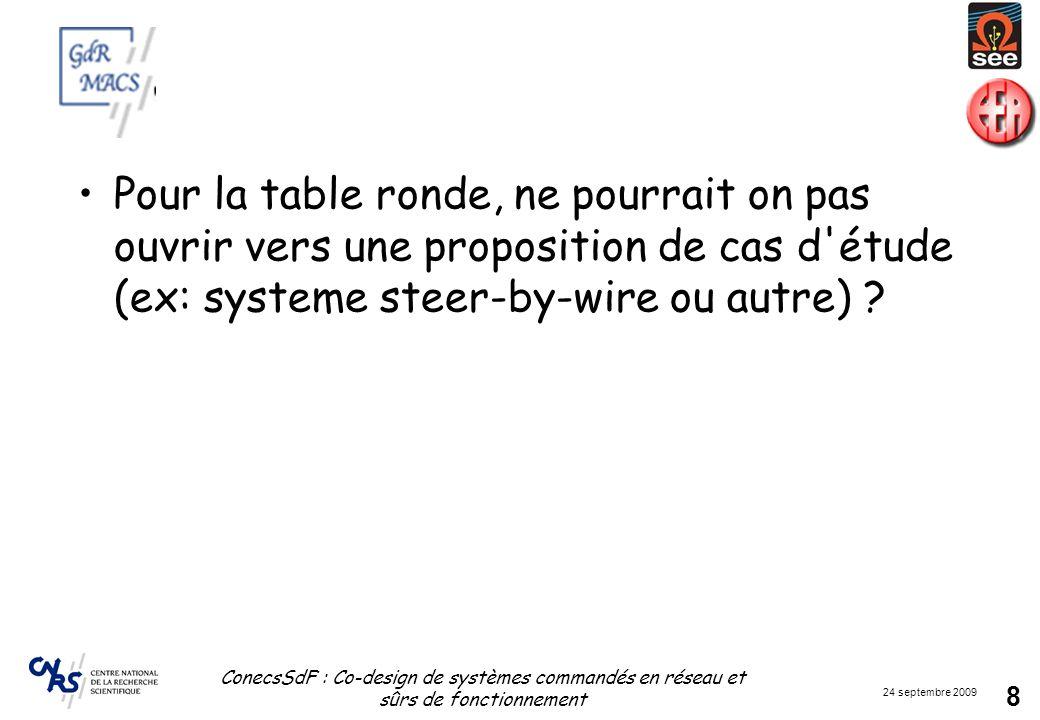 24 septembre 2009 ConecsSdF : Co-design de systèmes commandés en réseau et sûrs de fonctionnement 8 Pour la table ronde, ne pourrait on pas ouvrir ver