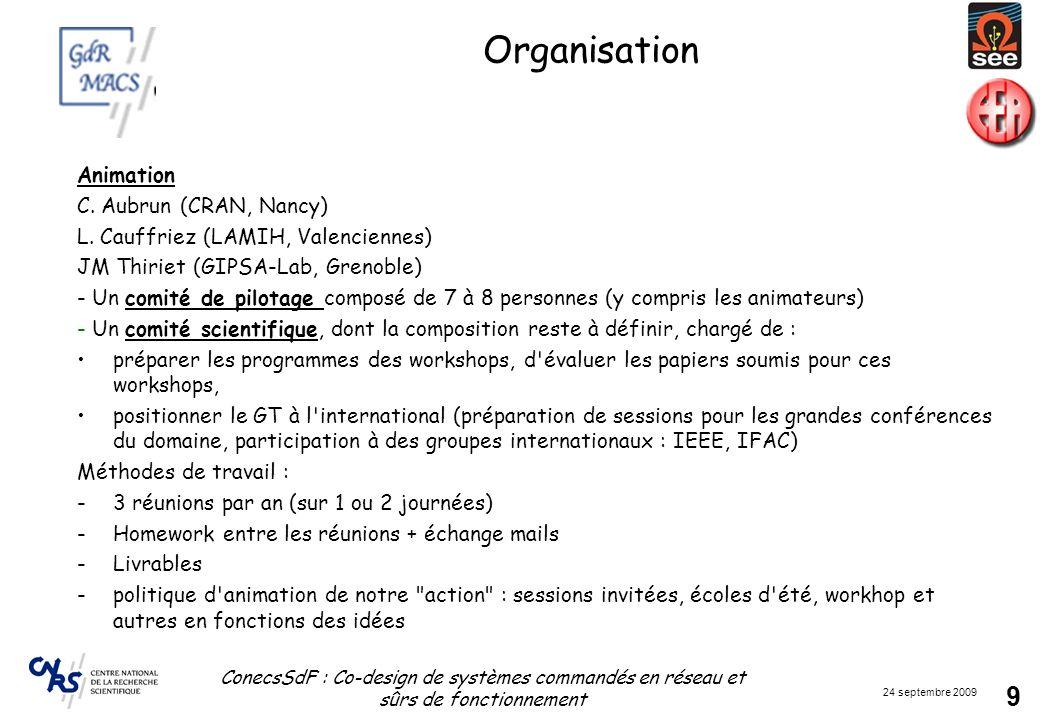 24 septembre 2009 ConecsSdF : Co-design de systèmes commandés en réseau et sûrs de fonctionnement 9 Organisation Animation C. Aubrun (CRAN, Nancy) L.