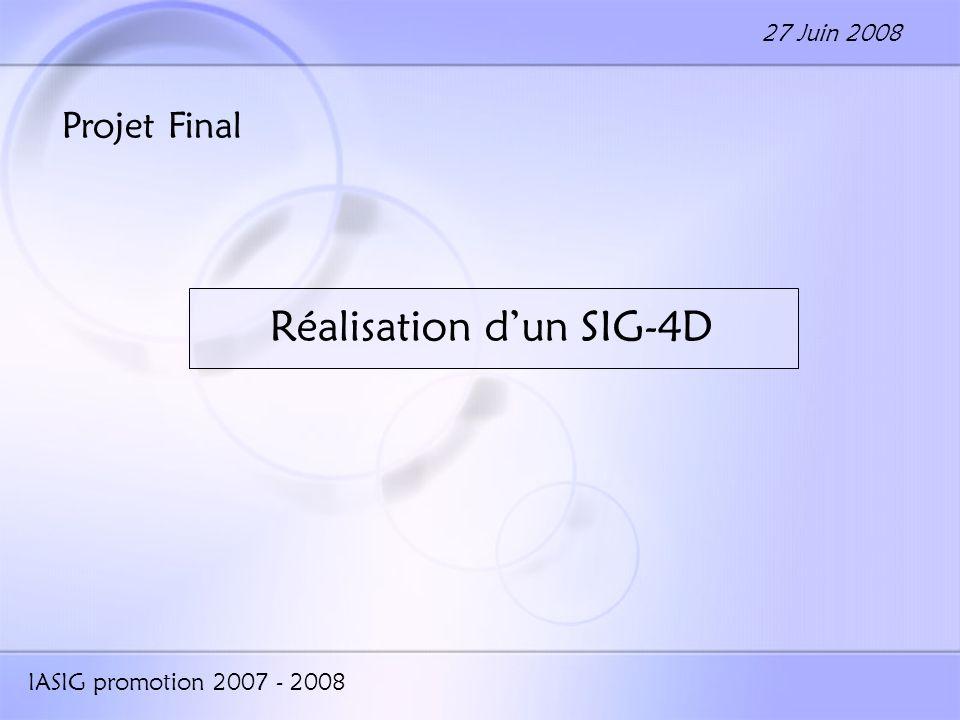 Projet Final Réalisation dun SIG-4D IASIG promotion 2007 - 2008 27 Juin 2008