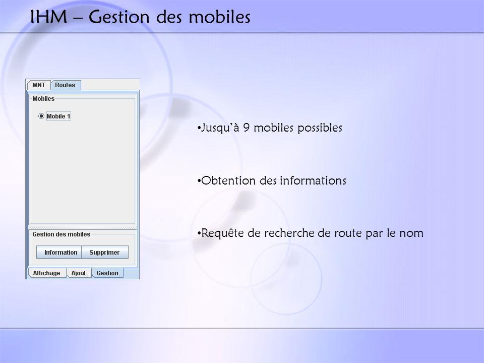 IHM – Gestion des mobiles Jusquà 9 mobiles possibles Obtention des informations Requête de recherche de route par le nom