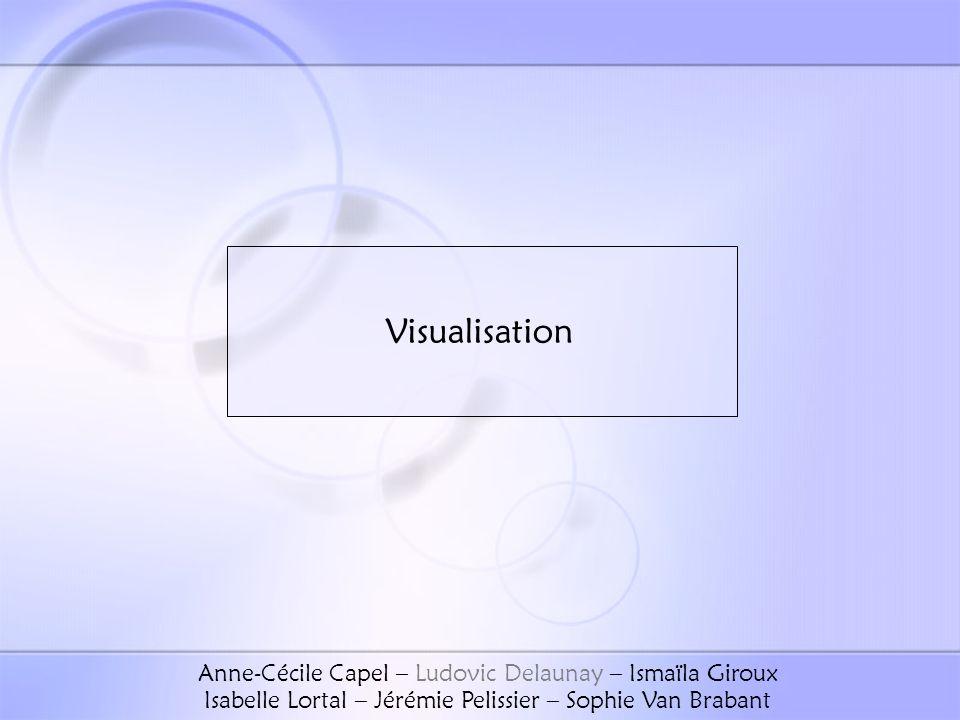 Visualisation Anne-Cécile Capel – Ludovic Delaunay – Ismaïla Giroux Isabelle Lortal – Jérémie Pelissier – Sophie Van Brabant