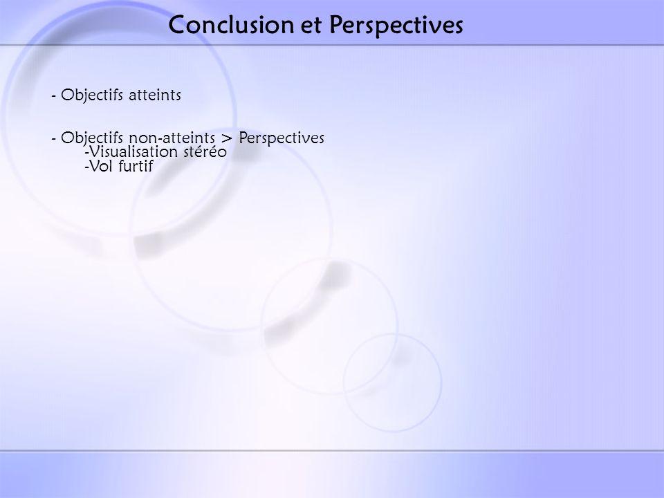Conclusion et Perspectives - Objectifs atteints - Objectifs non-atteints > Perspectives -Visualisation stéréo -Vol furtif