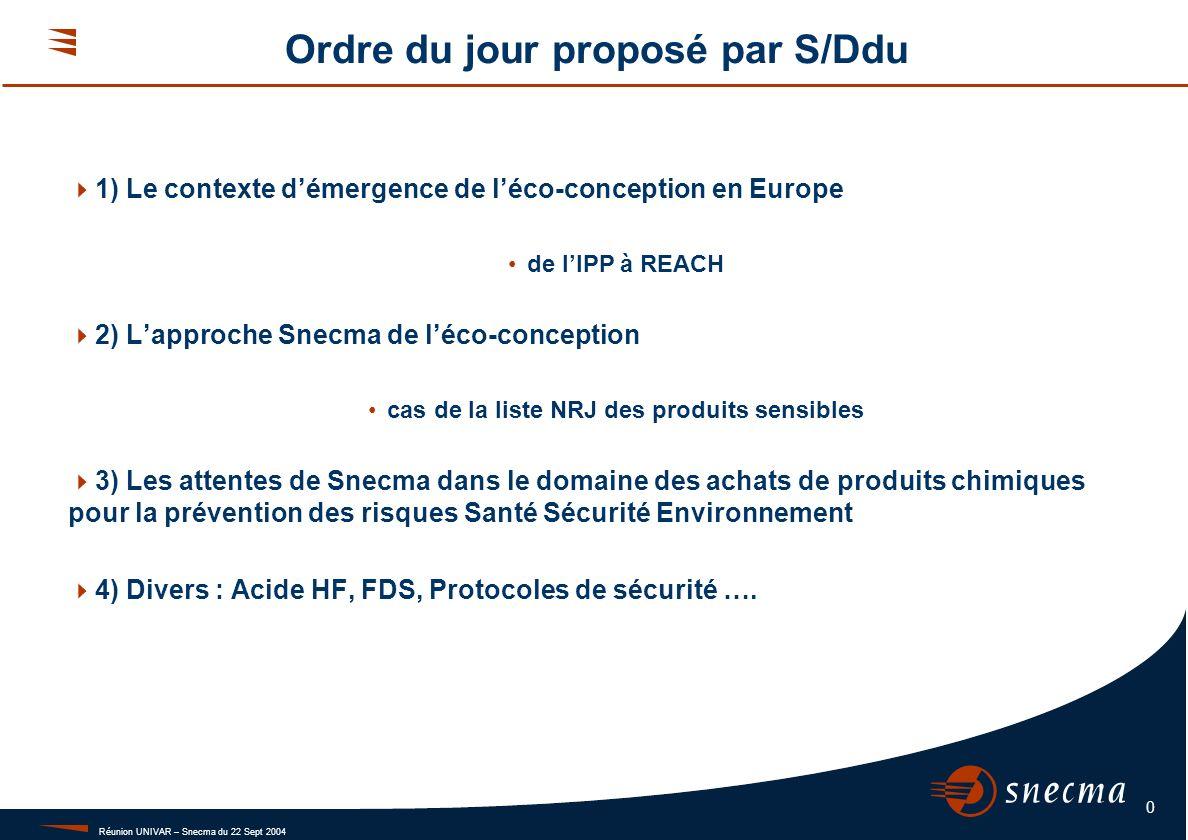 Réunion UNIVAR – Snecma du 22 Sept 2004 0 Ordre du jour proposé par S/Ddu 1) Le contexte démergence de léco-conception en Europe de lIPP à REACH 2) La