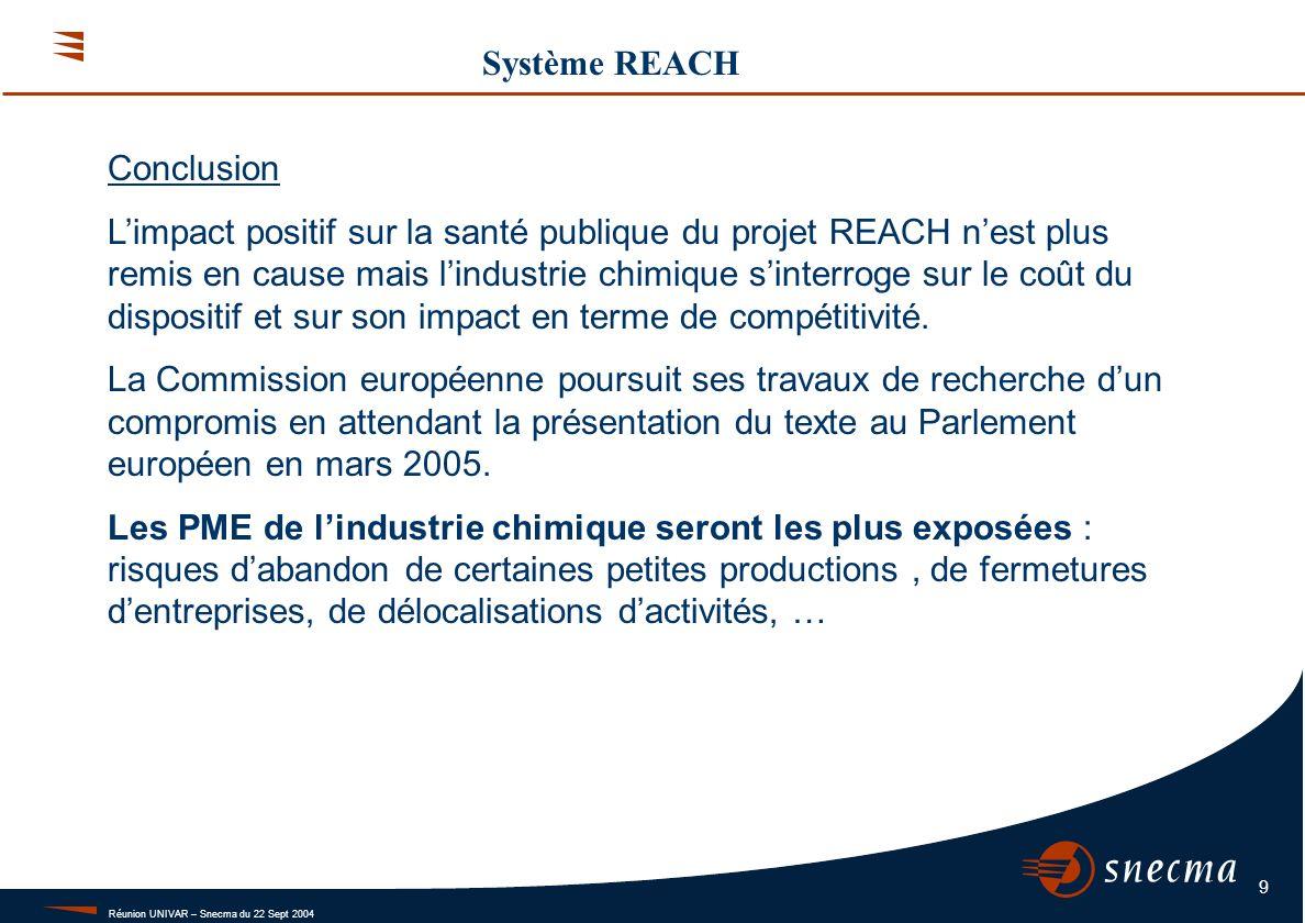 Réunion UNIVAR – Snecma du 22 Sept 2004 9 Système REACH Conclusion Limpact positif sur la santé publique du projet REACH nest plus remis en cause mais