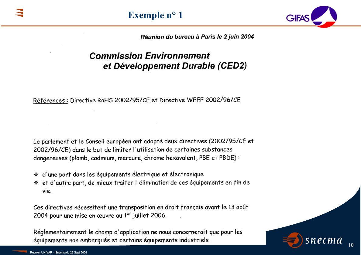 Réunion UNIVAR – Snecma du 22 Sept 2004 10 Exemple n° 1