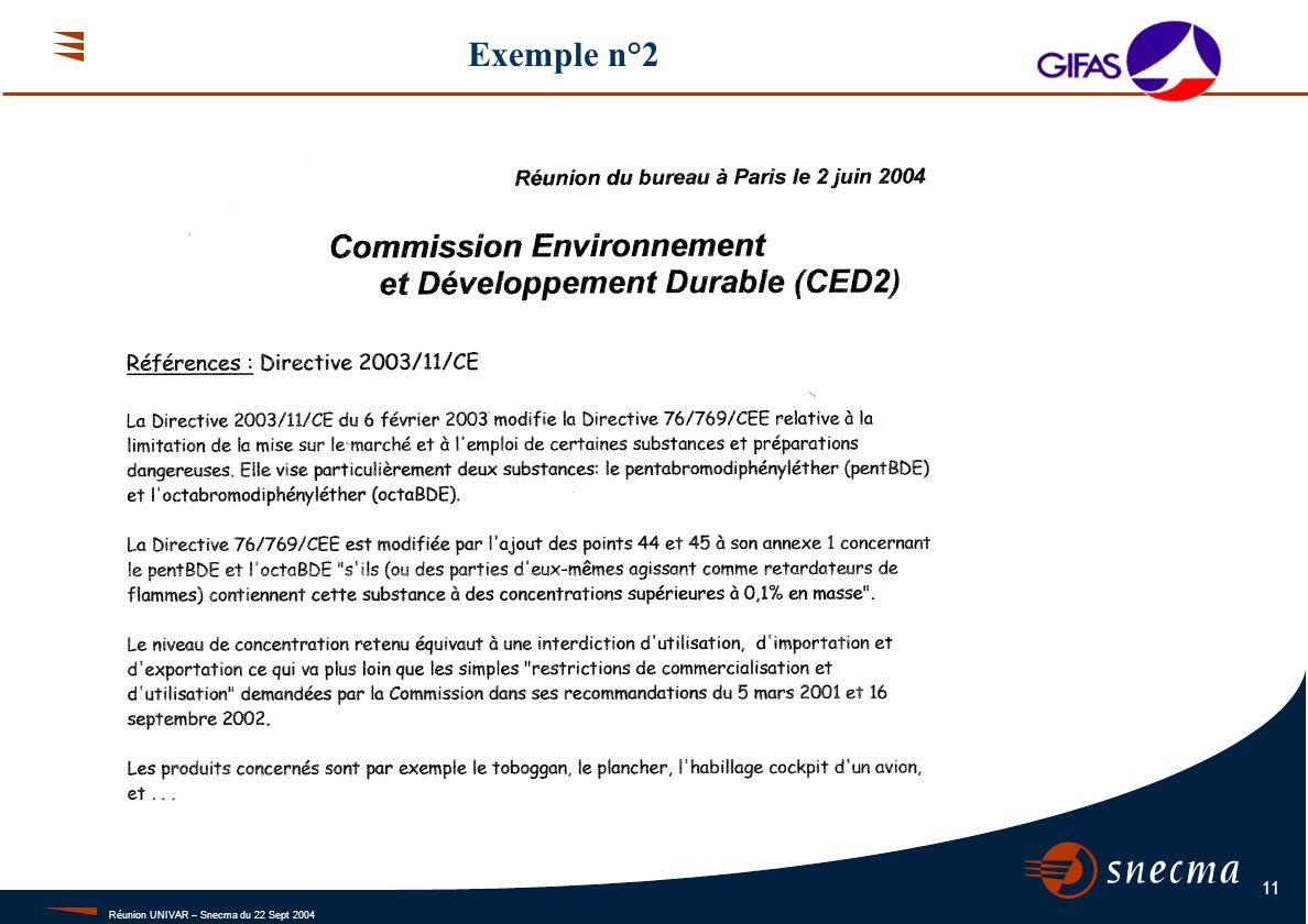 Réunion UNIVAR – Snecma du 22 Sept 2004 11 Exemple n°2