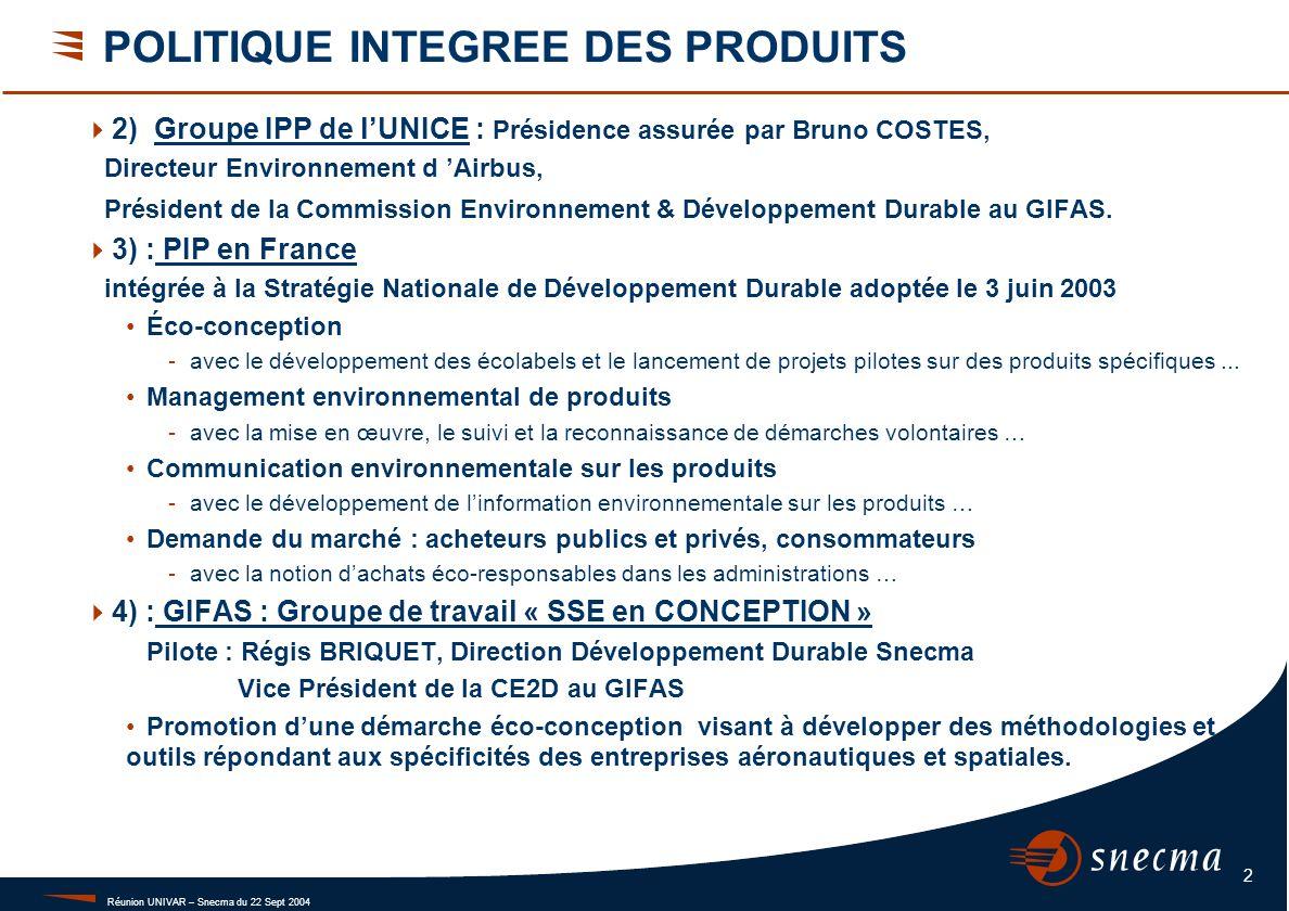 Réunion UNIVAR – Snecma du 22 Sept 2004 2 POLITIQUE INTEGREE DES PRODUITS 2) Groupe IPP de lUNICE : Présidence assurée par Bruno COSTES, Directeur Env