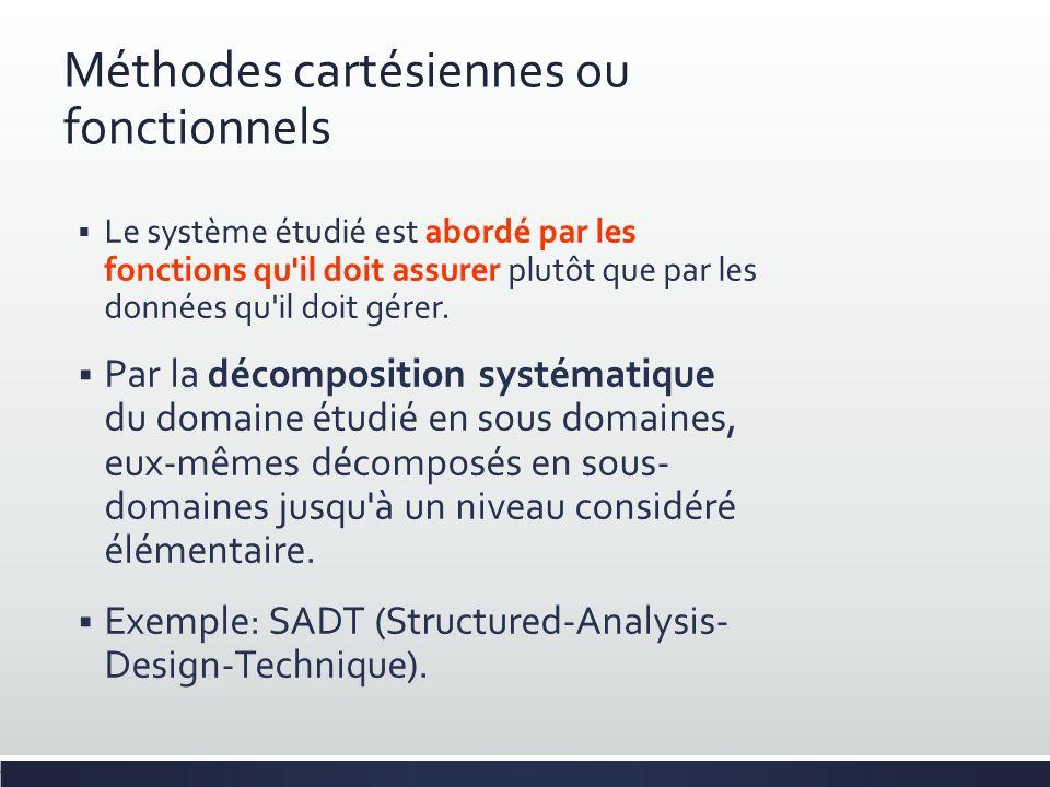 Méthodes cartésiennes ou fonctionnels Le système étudié est abordé par les fonctions qu'il doit assurer plutôt que par les données qu'il doit gérer. P