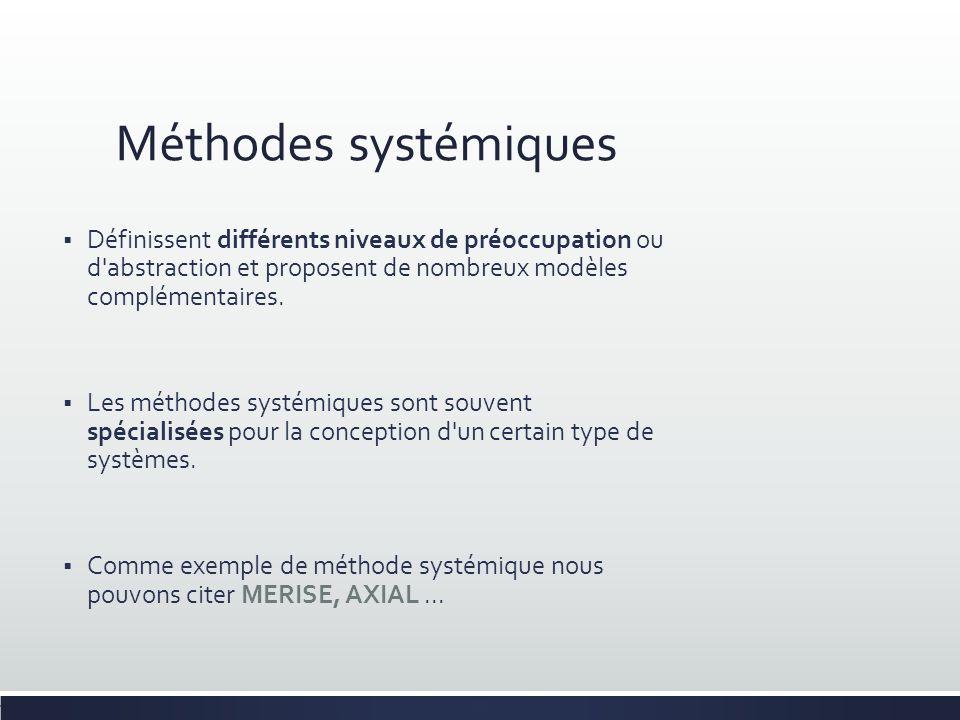 Méthodes systémiques Définissent différents niveaux de préoccupation ou d'abstraction et proposent de nombreux modèles complémentaires. Les méthodes s