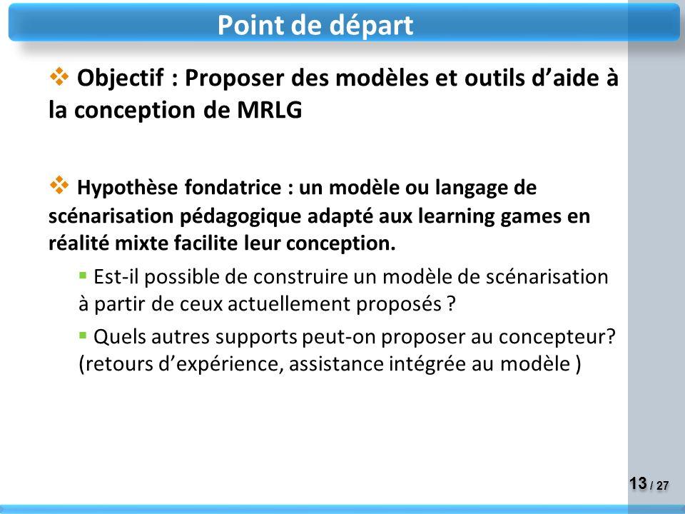13 / 27 Objectif : Proposer des modèles et outils daide à la conception de MRLG Hypothèse fondatrice : un modèle ou langage de scénarisation pédagogique adapté aux learning games en réalité mixte facilite leur conception.