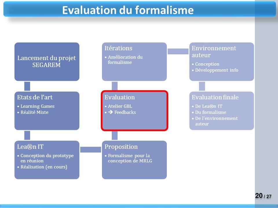 20 / 27 Evaluation du formalisme
