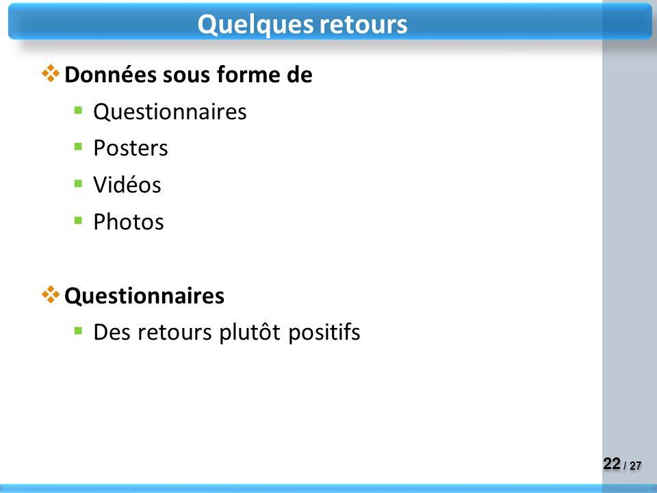 22 / 27 Données sous forme de Questionnaires Posters Vidéos Photos Questionnaires Des retours plutôt positifs Quelques retours