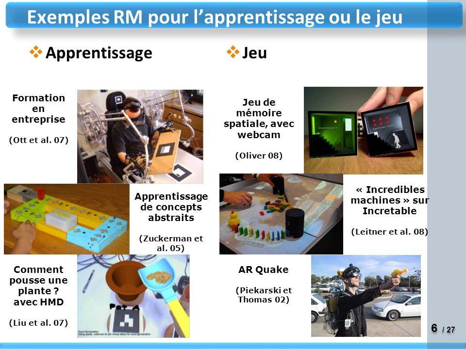 6 6 / 27 Apprentissage Jeu Exemples RM pour lapprentissage ou le jeu Formation en entreprise (Ott et al.