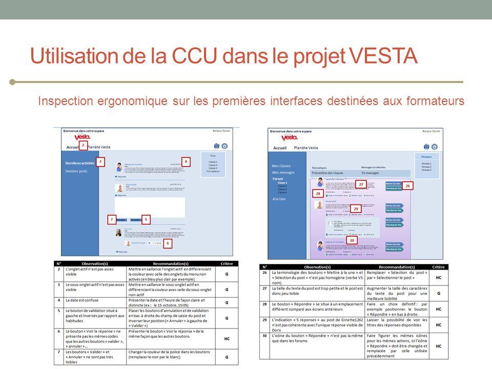 Inspection ergonomique sur les premières interfaces destinées aux formateurs Utilisation de la CCU dans le projet VESTA