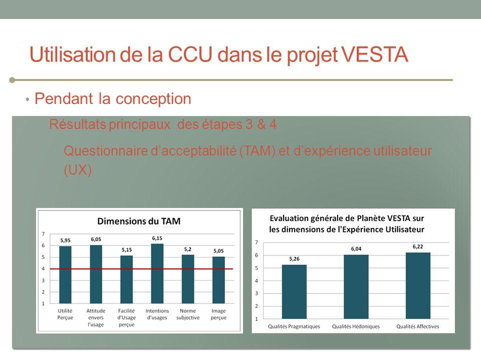 Utilisation de la CCU dans le projet VESTA Les Étés TIC : Erhel & Jamet Pendant la conception Résultats principaux des étapes 3 & 4 Questionnaire dacc