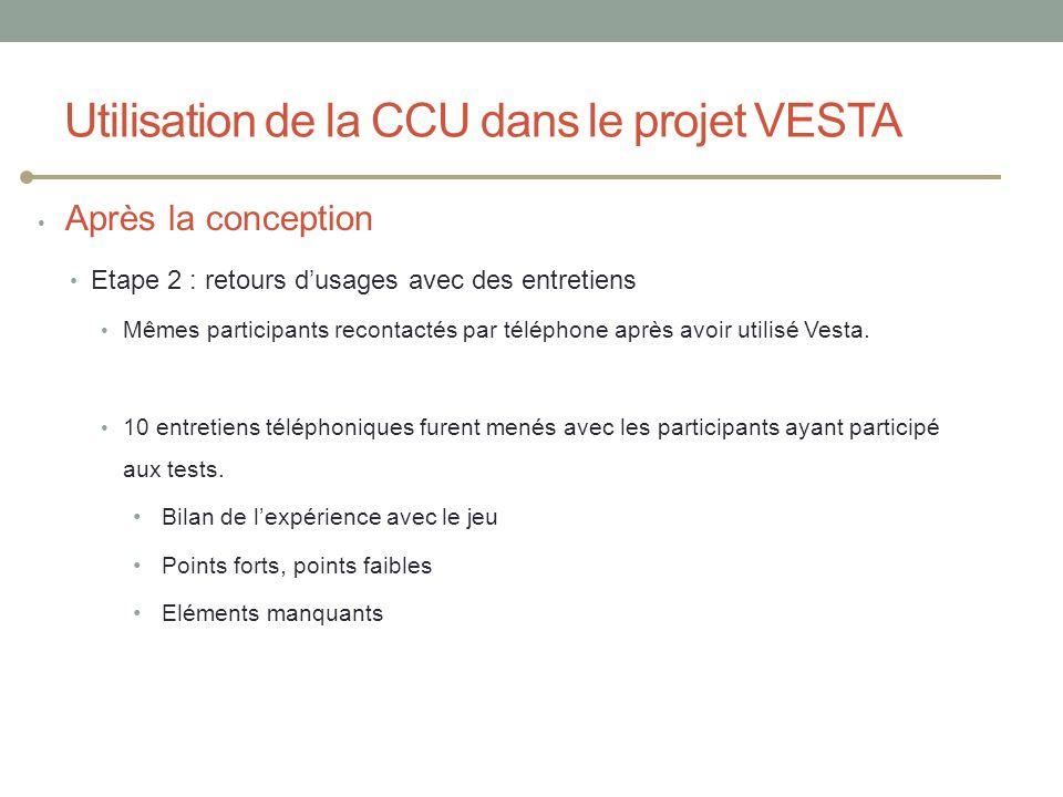 Après la conception Etape 2 : retours dusages avec des entretiens Mêmes participants recontactés par téléphone après avoir utilisé Vesta. 10 entretien