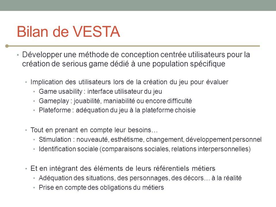 Bilan de VESTA Développer une méthode de conception centrée utilisateurs pour la création de serious game dédié à une population spécifique Implicatio