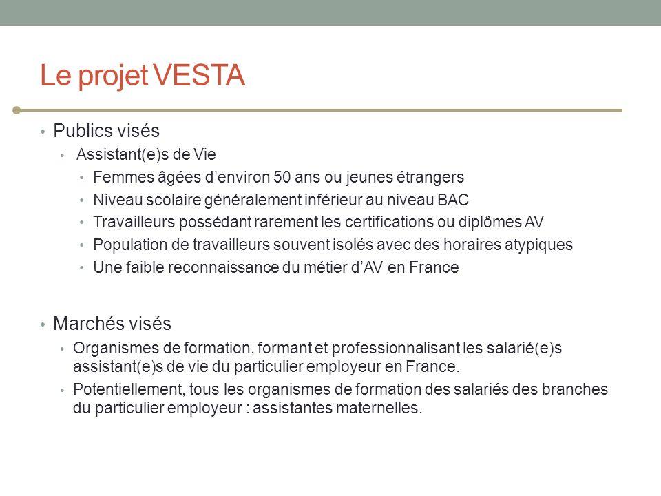 Le projet VESTA Publics visés Assistant(e)s de Vie Femmes âgées denviron 50 ans ou jeunes étrangers Niveau scolaire généralement inférieur au niveau B