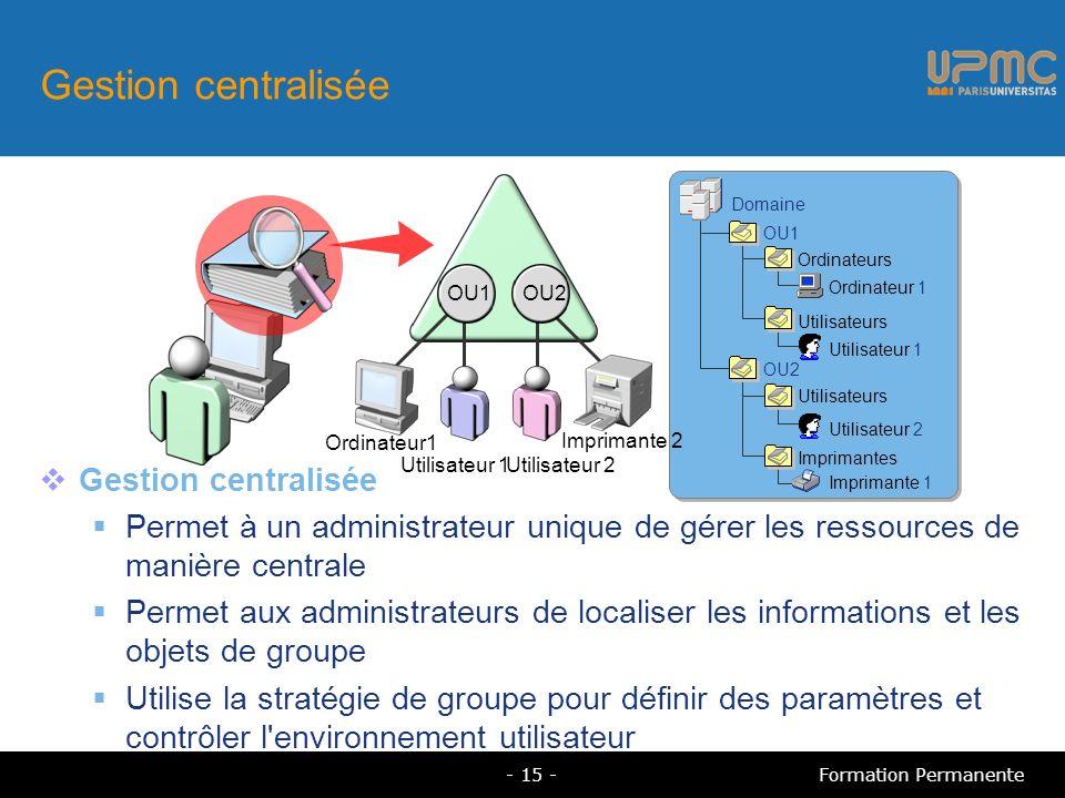 Gestion centralisée Permet à un administrateur unique de gérer les ressources de manière centrale Permet aux administrateurs de localiser les informat