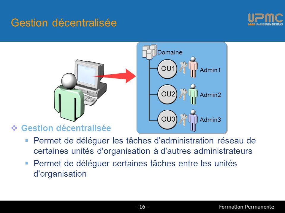 Gestion décentralisée Permet de déléguer les tâches d administration réseau de certaines unités d organisation à d autres administrateurs Permet de déléguer certaines tâches entre les unités d organisation Formation Permanente- 16 - Domaine Admin1 Admin2 Admin3 OU1 OU2 OU3