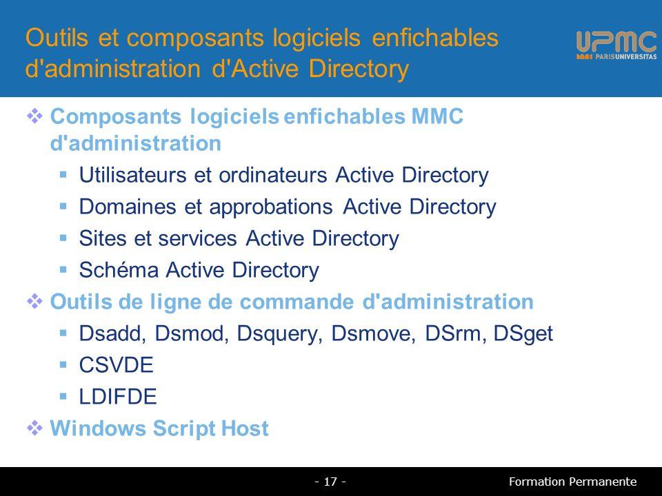 Outils et composants logiciels enfichables d'administration d'Active Directory Composants logiciels enfichables MMC d'administration Utilisateurs et o