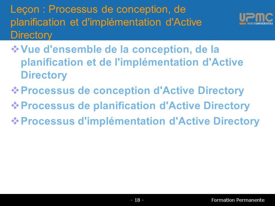 Leçon : Processus de conception, de planification et d'implémentation d'Active Directory Vue d'ensemble de la conception, de la planification et de l'