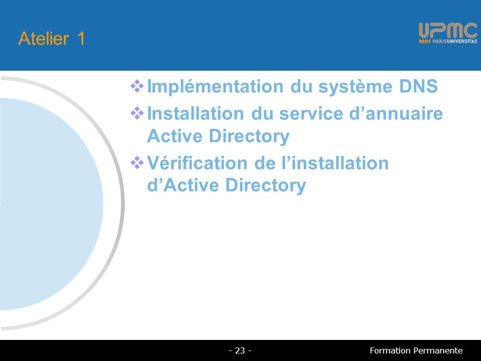 Atelier 1 Implémentation du système DNS Installation du service dannuaire Active Directory Vérification de linstallation dActive Directory - 23 -Formation Permanente