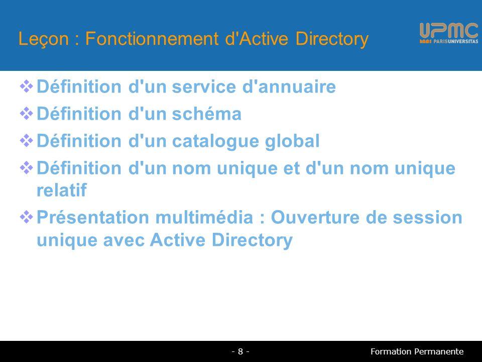 Leçon : Fonctionnement d Active Directory Définition d un service d annuaire Définition d un schéma Définition d un catalogue global Définition d un nom unique et d un nom unique relatif Présentation multimédia : Ouverture de session unique avec Active Directory - 8 -Formation Permanente