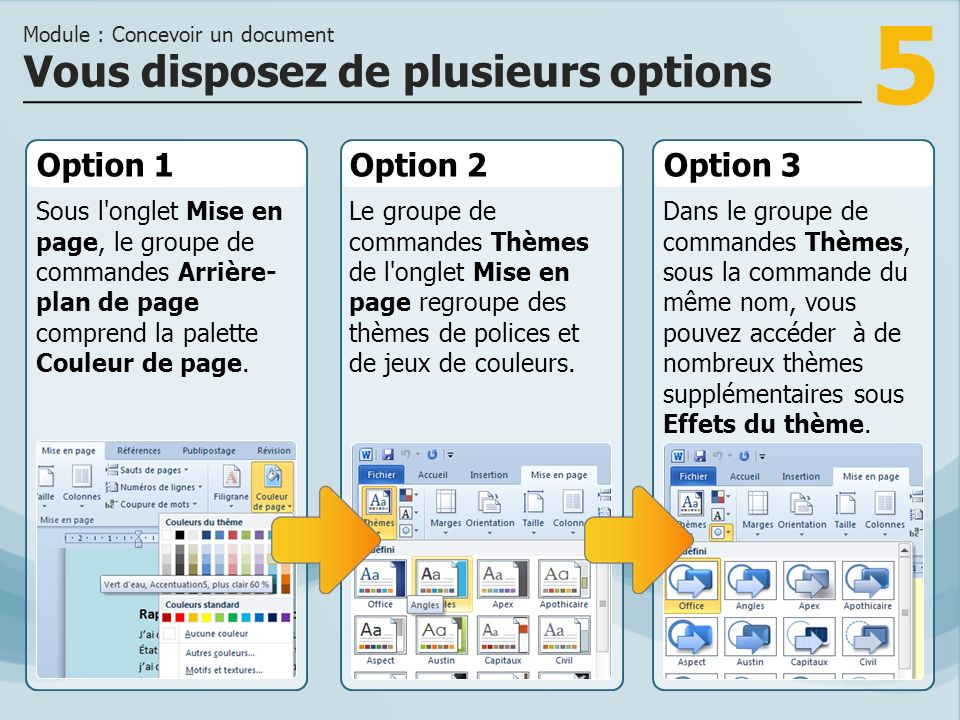 6 Des documents bien conçus Module : Concevoir un document Word 2010 vous offre pour chaque occasion les thèmes et les couleurs appropriés.