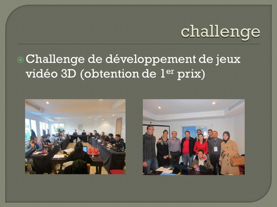 Challenge de développement de jeux vidéo 3D (obtention de 1 er prix)