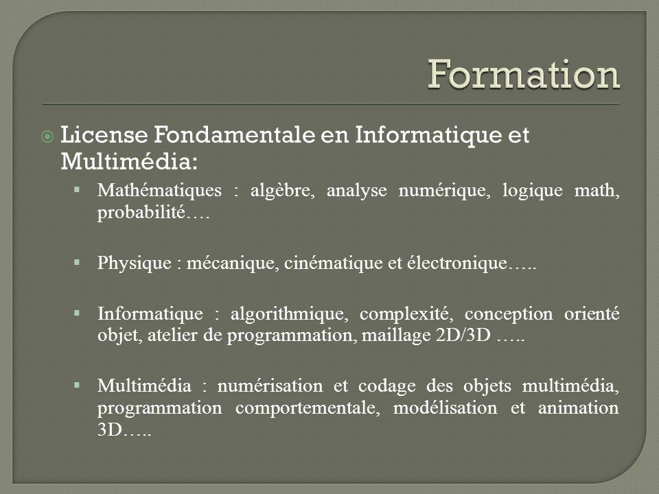 License Fondamentale en Informatique et Multimédia: Mathématiques : algèbre, analyse numérique, logique math, probabilité…. Physique : mécanique, ciné