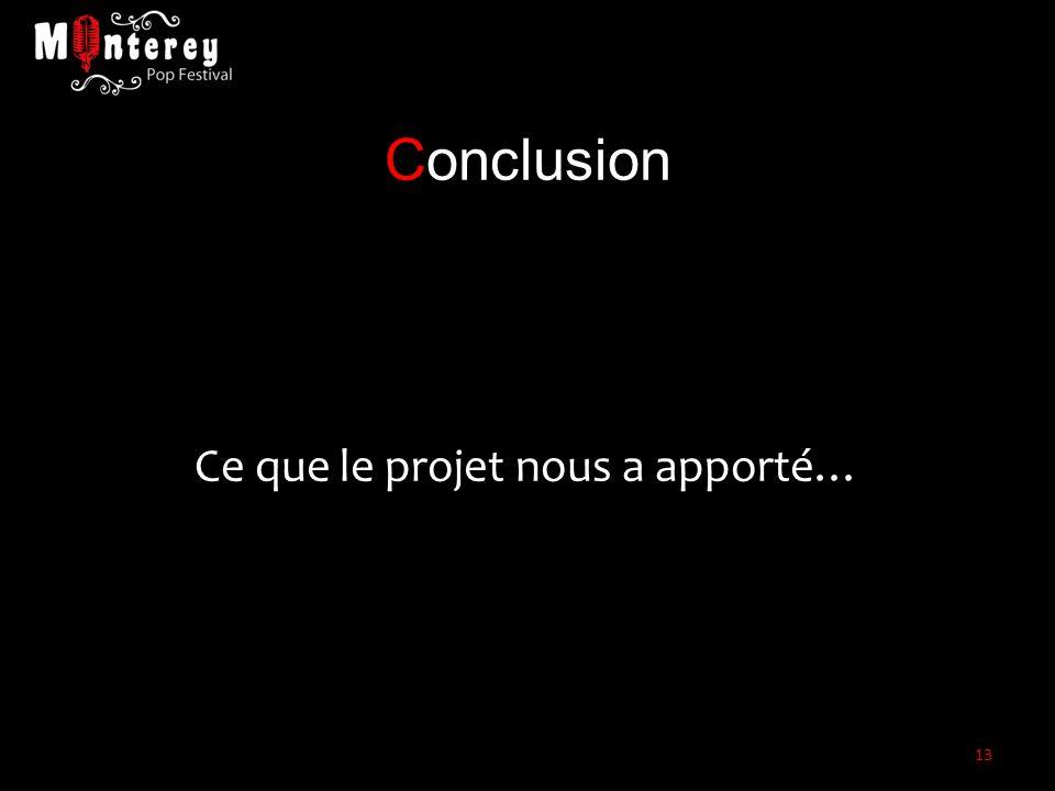 Conclusion Ce que le projet nous a apporté… 13