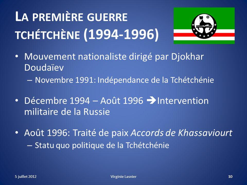 10 L A PREMIÈRE GUERRE TCHÉTCHÈNE (1994-1996) Mouvement nationaliste dirigé par Djokhar Doudaïev – Novembre 1991: Indépendance de la Tchétchénie Décem
