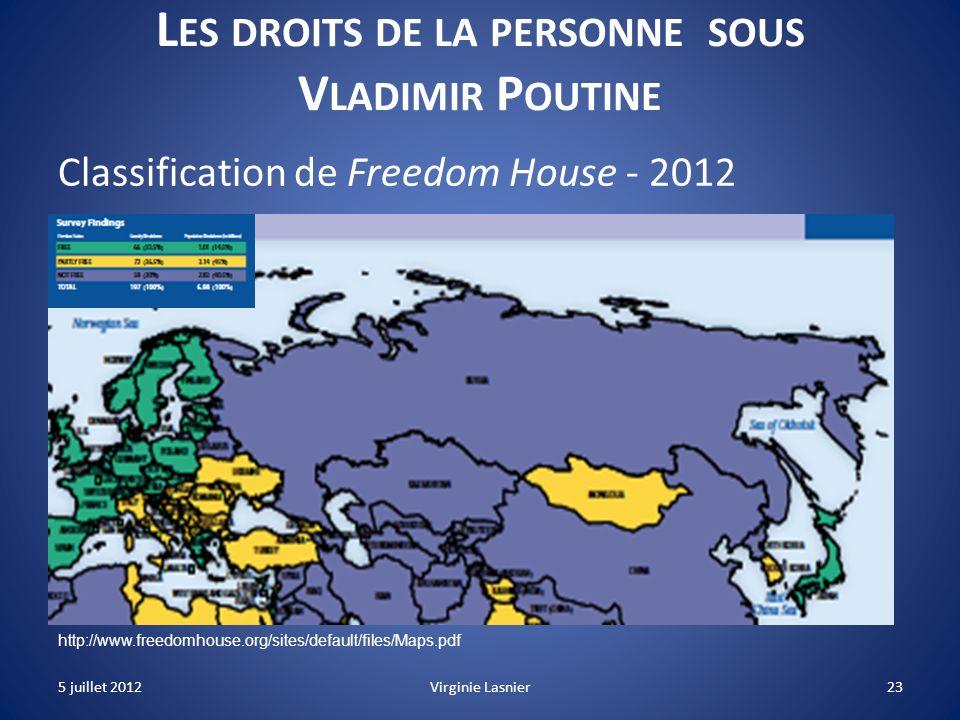 23 L ES DROITS DE LA PERSONNE SOUS V LADIMIR P OUTINE Classification de Freedom House - 2012 http://www.freedomhouse.org/sites/default/files/Maps.pdf