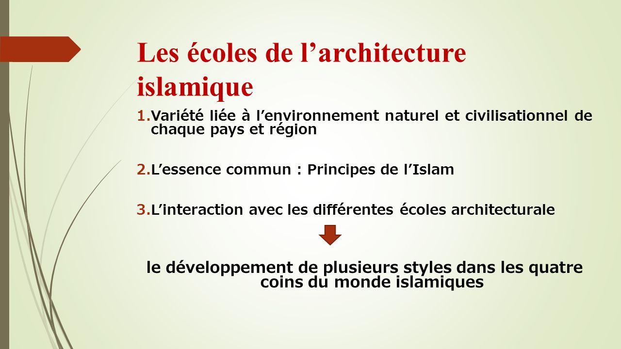 Les écoles de larchitecture islamique 1.Variété liée à lenvironnement naturel et civilisationnel de chaque pays et région 2.Lessence commun : Principe