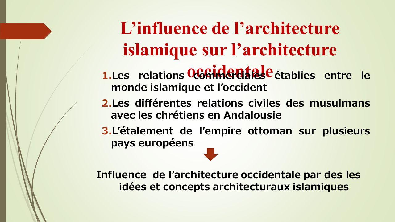 Linfluence de larchitecture islamique sur larchitecture occidentale 1.Les relations commerciales établies entre le monde islamique et loccident 2.Les