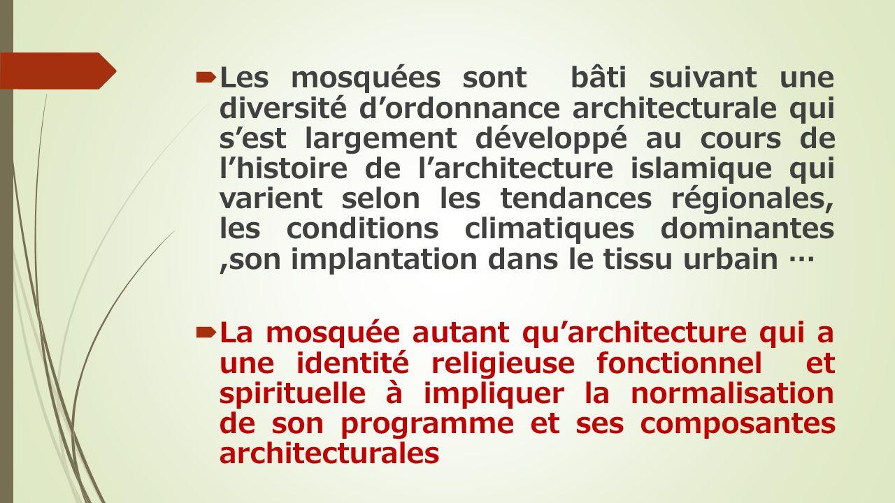 Les mosquées sont bâti suivant une diversité dordonnance architecturale qui sest largement développé au cours de lhistoire de larchitecture islamique
