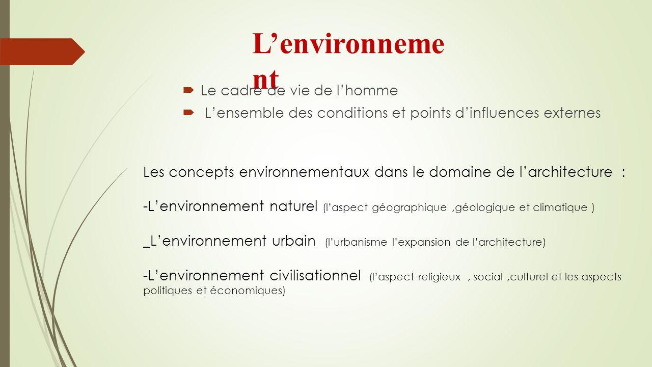 Lenvironneme nt Le cadre de vie de lhomme Lensemble des conditions et points dinfluences externes Les concepts environnementaux dans le domaine de lar