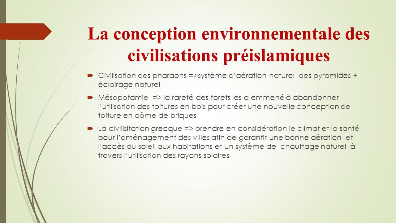 La conception environnementale des civilisations préislamiques Civilisation des pharaons =>système daération naturel des pyramides + éclairage naturel