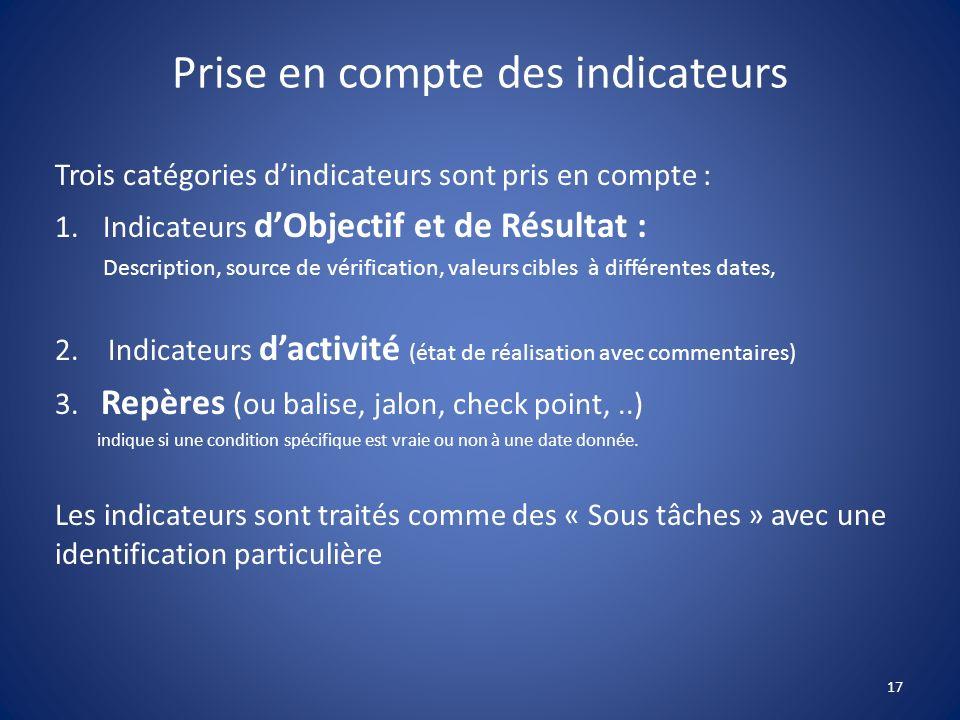 Prise en compte des indicateurs Trois catégories dindicateurs sont pris en compte : 1.Indicateurs dObjectif et de Résultat : Description, source de vé