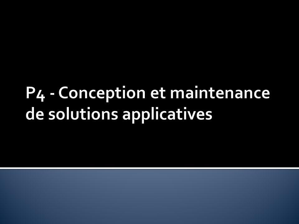 A4.1.1 Proposition dune solution applicative A4.1.2 Conception ou adaptation de linterface utilisateur dune solution applicative A4.1.2 Conception ou adaptation de linterface utilisateur dune solution applicative A4.1.3 Conception ou adaptation dune base de données A4.1.5 Prototypage de composants logiciels A4.1.7 Développement, utilisation ou adaptation de composants logiciels A4.1.8 Réalisation des tests nécessaires à la validation déléments adaptés ou développés A4.1.8 Réalisation des tests nécessaires à la validation déléments adaptés ou développés A4.1.9 Rédaction dune documentation technique A4.2.0 Rédaction dune documentation dutilisation A4.2.2 Adaptation dune solution applicative aux évolutions de ses composants A4.2.2 Adaptation dune solution applicative aux évolutions de ses composants A4.2.4 Mise à jour dune documentation technique