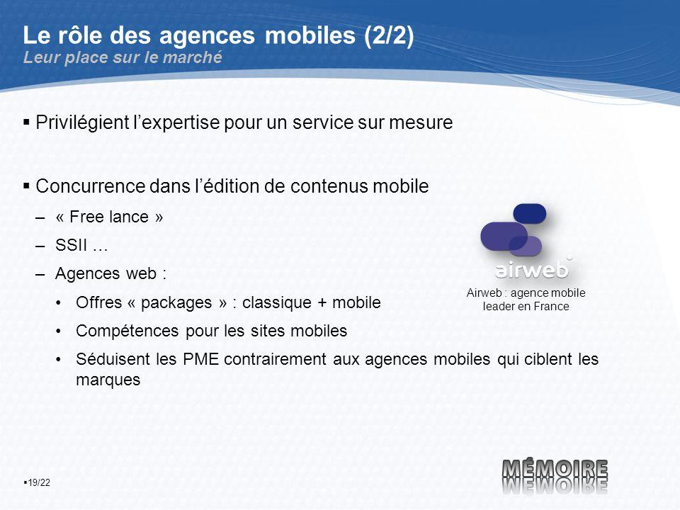 19/22 Le rôle des agences mobiles (2/2) Leur place sur le marché Privilégient lexpertise pour un service sur mesure Concurrence dans lédition de contenus mobile –« Free lance » –SSII … –Agences web : Offres « packages » : classique + mobile Compétences pour les sites mobiles Séduisent les PME contrairement aux agences mobiles qui ciblent les marques Airweb : agence mobile leader en France